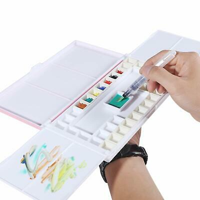 Travel Watercolor Case with Foldable Paint Palette, Porcelain Water Dish 36 Well