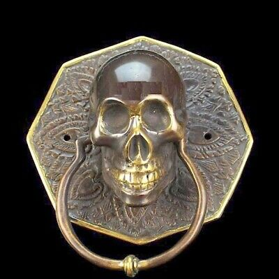 "door KNOCKER HEX head ring pull Handle pure brass 4"" day of the dead polished"