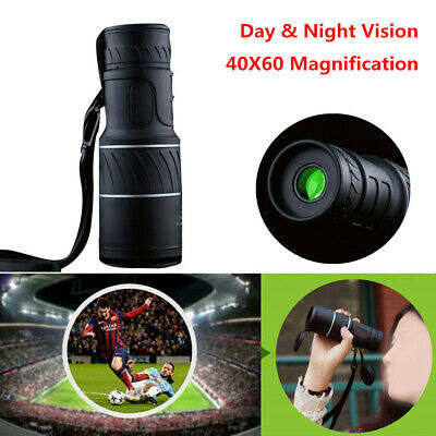 Day & Night Vision 40X60 HD Optical Monocular Hunting Hiking Telescope 20mm Lens