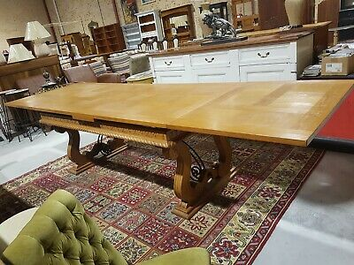 French 'Drawleaf' Extension Table With Parquetry Inlay & Wrought Iron Stretcher