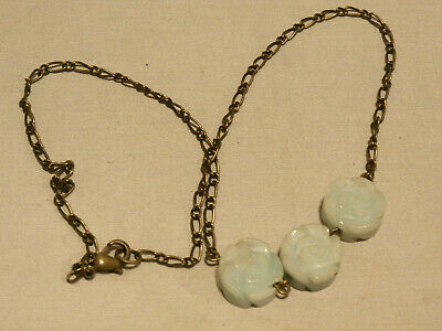 Vintage Natural Nephrite Jade Beads Carved Roses On Delicate Necklace Chain
