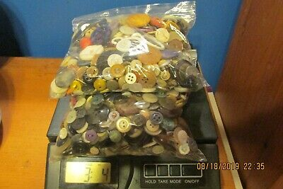 Button Lot 3 to 3.5 Pounds New Old MOP, Metal, Plastic, Wood, & More! 3 Bags-Lot