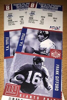 1pm! NY Giants - Green Bay Packers 12/01/2019 (2) Commemorative Tickets NFL 100!