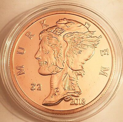 "2018 1 OZ $2 Zombucks ""MURK DIEM"" 999.0 Pure Copper Bullion Coin in Acrylic Cap"