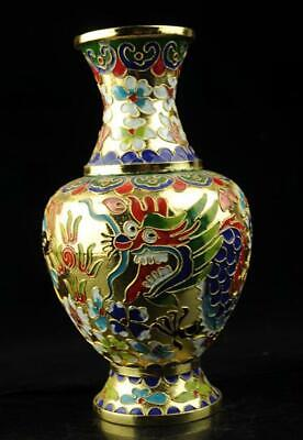 chinese old hand-made cloisonne copper dragon and phoenix Vase d01