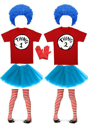Dr Seuss Thing 1 and 2 Cat in the Hat Fancy Dress Adult Kids Costume Book Week