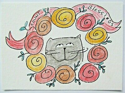 ACEO Original Watercolor Cat Flowers Wreath Count Your Blessings by MiloLee