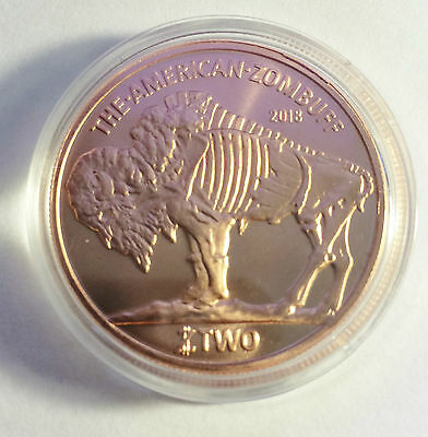 "2018 1 OZ ""$2 ZOMBUFF"" 999.0 Pure Copper Bullion Coin in Acrylic Capsule (b)"