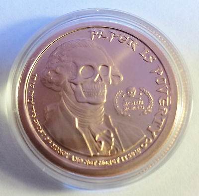 "2014 1 OZ ""GHOST MONEY"" 999.0 Pure Copper Bullion Coin in Acrylic Capsule"