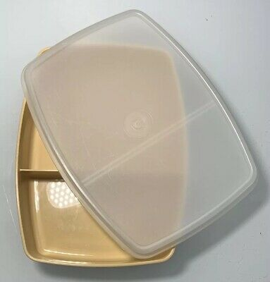 Vintage Tupperware Divided Lunch Snack Containers Harvest Gold with Lid