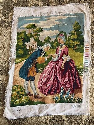Vintage Royal Paris French romance couple hand kiss love tapestry completed