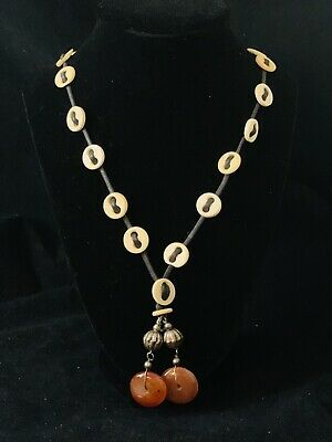 Vintage African Ethnic Tribal Necklace Attached Bone Beads& stones