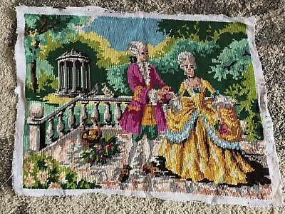 Vintage French romance couple love tapestry completed garden doves palace