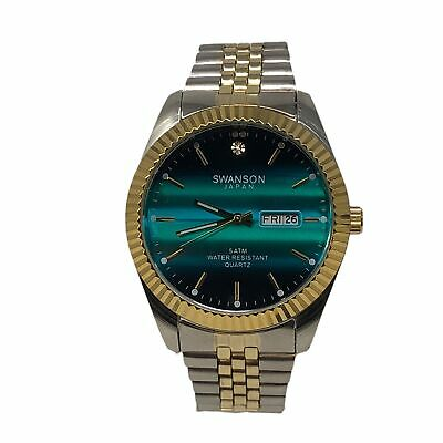 NEW! Men's Swanson Japan Watch  Aqua Dial 45mm -Two Tone Band One Stone