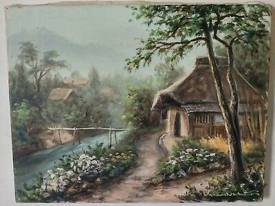 Antique Landscape Oil Painting / Country Cottage Stream Mid Century Asian Style