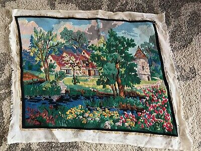 Large tapestry cottage country estate pond flower garden England UK Europe