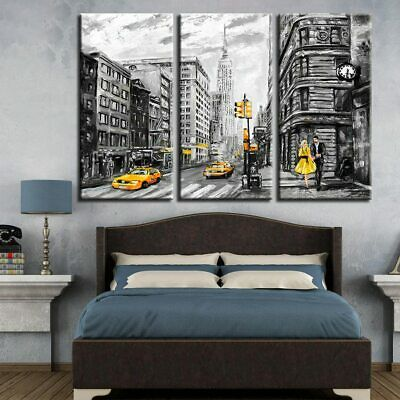 Canvas Prints Poster Wall Art Abstract Pictures 3 Pieces New York City Street