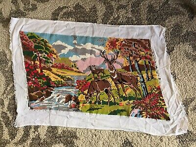 Large vintage tapestry finished doe deer stag forest stream alpine 67cm x 40cm