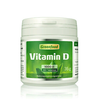Greenfood Vitamin D3, 1000 iE, hochdosiert, 180 Tabletten