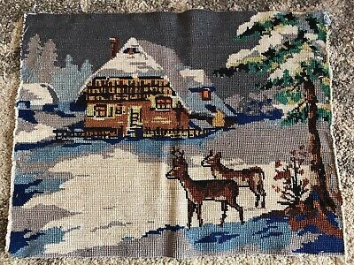 Vintage finished tapestry deer snow forest mountain chalet winter 44 x 34cm