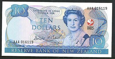 New Zealand Low $10 AAA 016119+Ovpt 150thAnniv Commemorative Banknote Issue p176