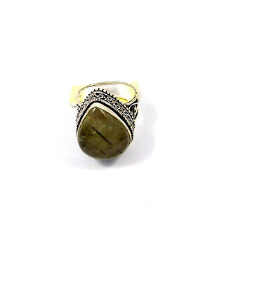 Black Needle Rutile Silver Plated Hand Carving Size 9.50 Ring Jewelry JC4534
