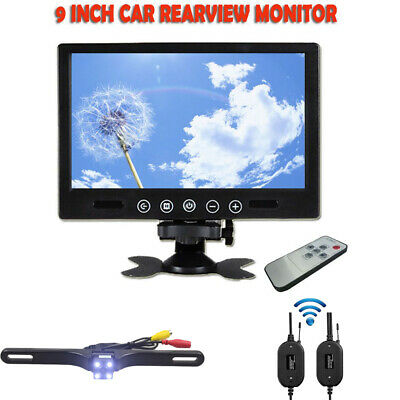 "9"" TFT LCD Car Rear View Backup Monitor+Wireless Parking Night Vision Camera Kit"