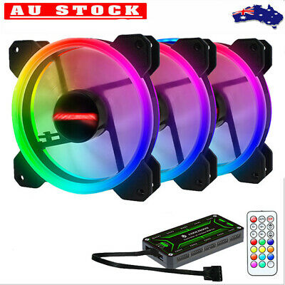 RGB Case Cooling Fan 12CM Colorful PC Computer Fan Cooler with Remote Control AU