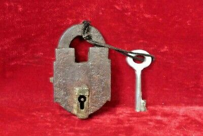 Brass Lock and Key Antique Vintage Old Iron Padlock Collectible BG-79