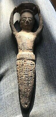 Rare Ancient Near Eastern Bronze Statuette Early Form Of Writing Engraved