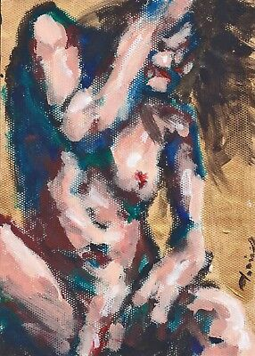 """Abstract girl nude 8x11 Acrylic art painting """"Nirvana g"""" by artist Anninos"""