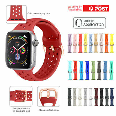 Apple Watch Band Series 5 4 3 2 1 Sport Silicone iWatch Strap Band 38 40 42 44mm