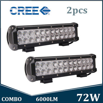 2X 12inch 72W LED Work Light Bar Spot Flood Combo Dual Row Tractor Offroad ATV