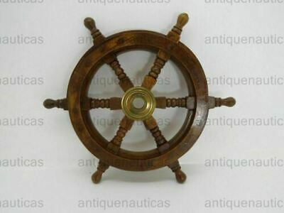 "Nautical Wooden 18"" Ship Wheel Brass Ship Steering Wheel Wall Decor"