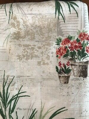 Vintage  Barkcloth Curtain Fabric Curtin size110cm x 200cm Shutters and palms