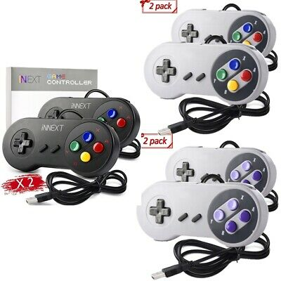 2 Pack iNNEXT USB Long Wired Super Nintendo SNES PC Controller Gamepad Joystick