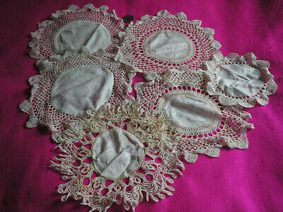 Collectable Antique/Vintage Round Doilies/Mats White/Cream Crochet Lace X 6