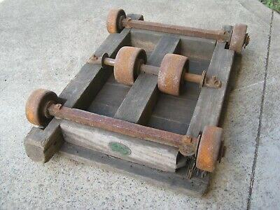 Very Old Industrial Wooden Trolley With 6 Cast Iron Wheels ... Weston's Pty Ltd