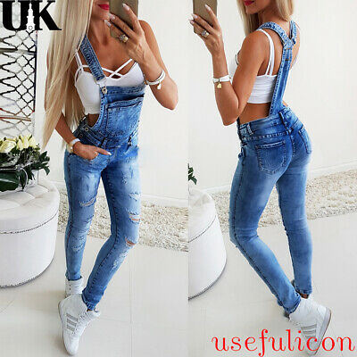Women's Denim Bib Jeans Ladies Overalls Jumpsuit Casual Full Length Dungarees UK
