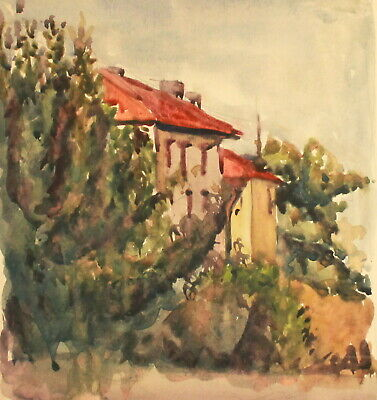 Vintage watercolor painting impressionist landscape house