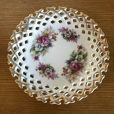Napco Pierced plate with roses & gold trim. Originals by Giftcraft, Japan