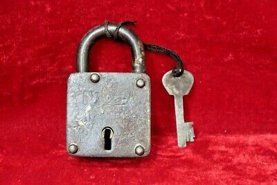 Brass Lock and Key Old Antique Vintage Iron Padlock Collectible BG-81