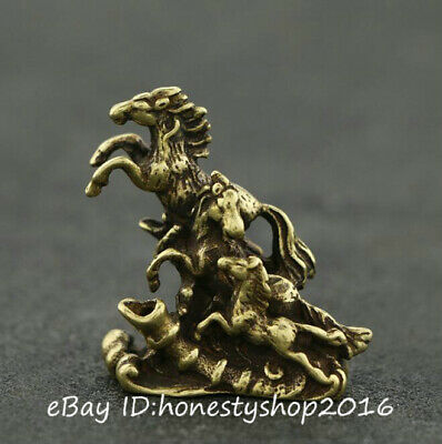 Chinese Bronze Copper Hand Carved Fengshui Zodiac Animal Horse Running Statue