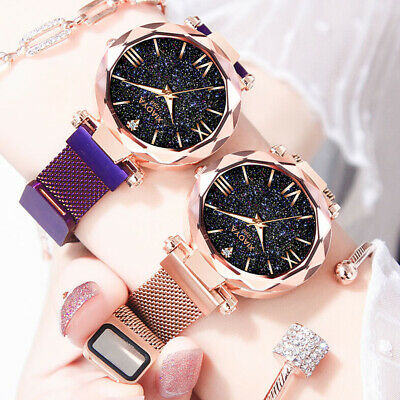 Starry Night Ladies Watch Magnetic Strap Stylish Blue Sand Stone Dial Watch Gift