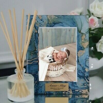 Baby Personalised Frame 5x7 Photo Glass Fortune Of Blue - Unique Baby Gift