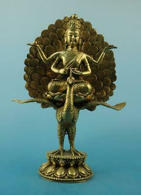 Chinese old fengshui copper hand-carved peacock Daming king Buddha statue i02