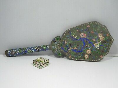 Antique Chinese Enamel Champleve Vanity Mirror And Pill Box