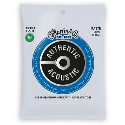 Martin MA170 80/20 Bronze Authentic Acoustic Guitar Strings Extra Light 10-47