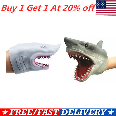 Shark Hand Puppet Soft Kids Toy Gift Great For jaws Cake Decoration Topper USA~