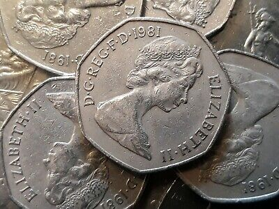 1981 BRITANNIA. Large Old 50p. Fifty pence. Circulated